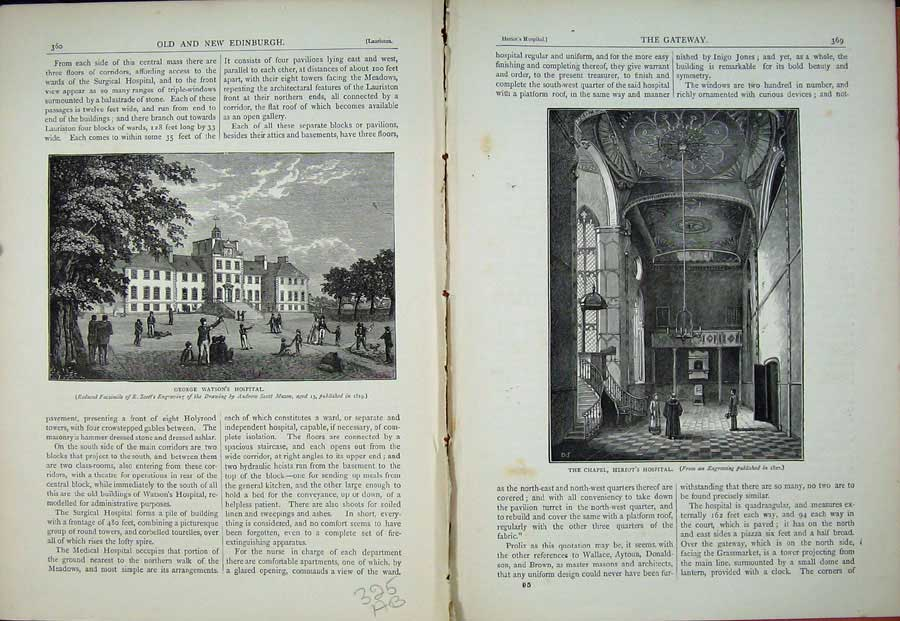 Print Edinburgh 1882 George Watson'S Hospital Chapel Scotland 325Ae114 Old Original