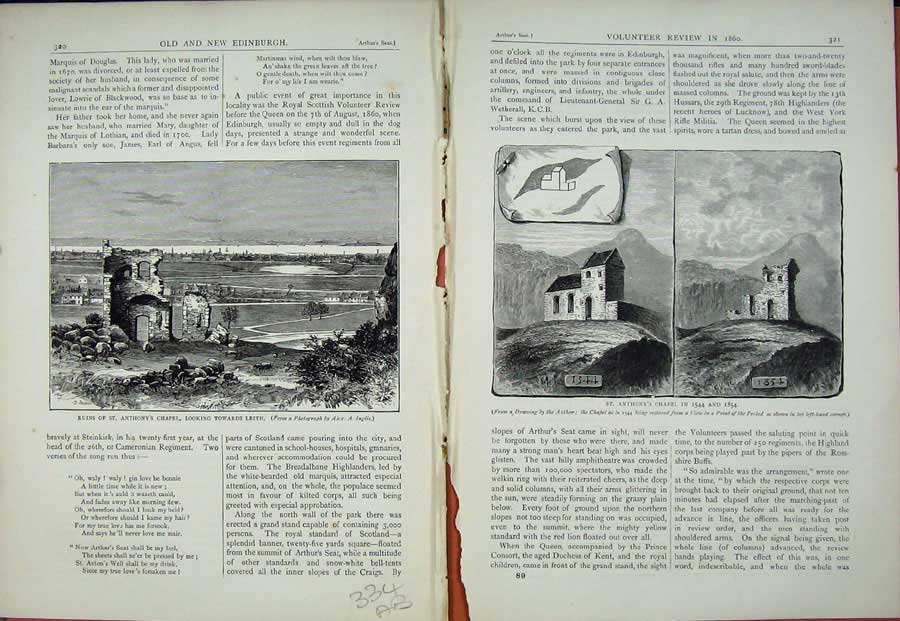 Print Edinburgh 1882 Ruins St Anthony'S Chapel Leith Scotland 334Ae114 Old Original