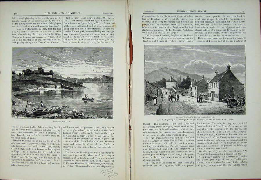 Print Edinburgh 1882 Duddingston Loch Prince Charlie'S House 335Ae114 Old Original