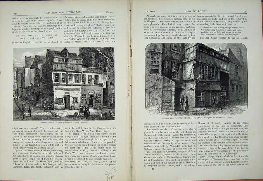 Print Edinburgh 1882 College Wynd Symson Er'S House 343Ae114 Old Original