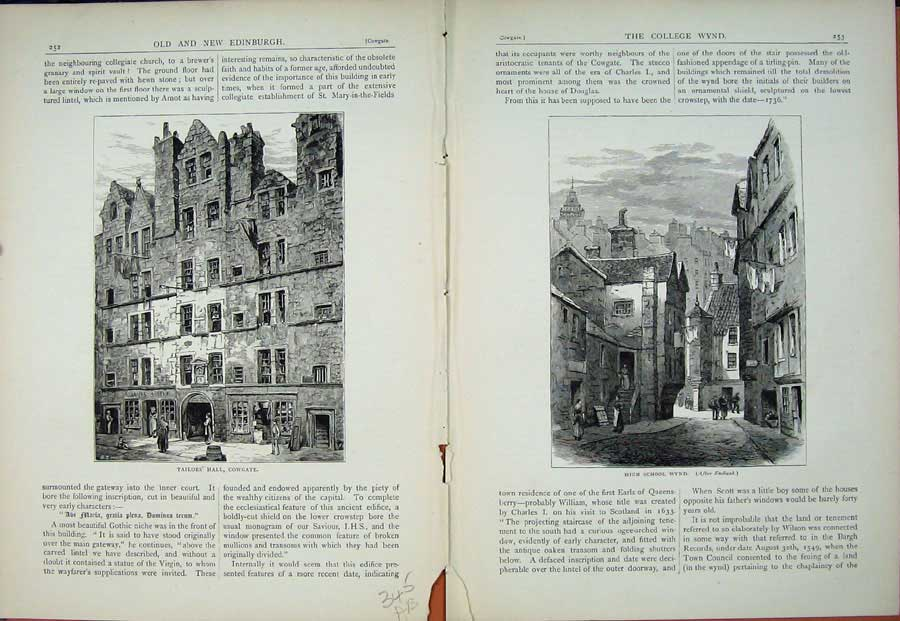 Print Edinburgh 1882 Tailor'S Hall Cowgate High School Wynd 345Ae114 Old Original