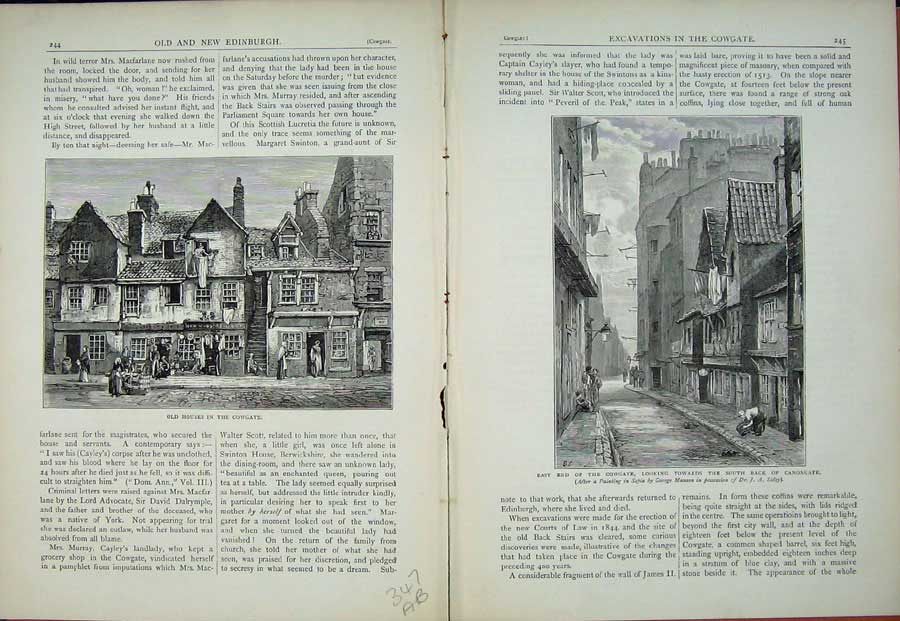 Print Edinburgh 1882 Houses Cowgate Canongate Scotland 347Ae114 Old Original