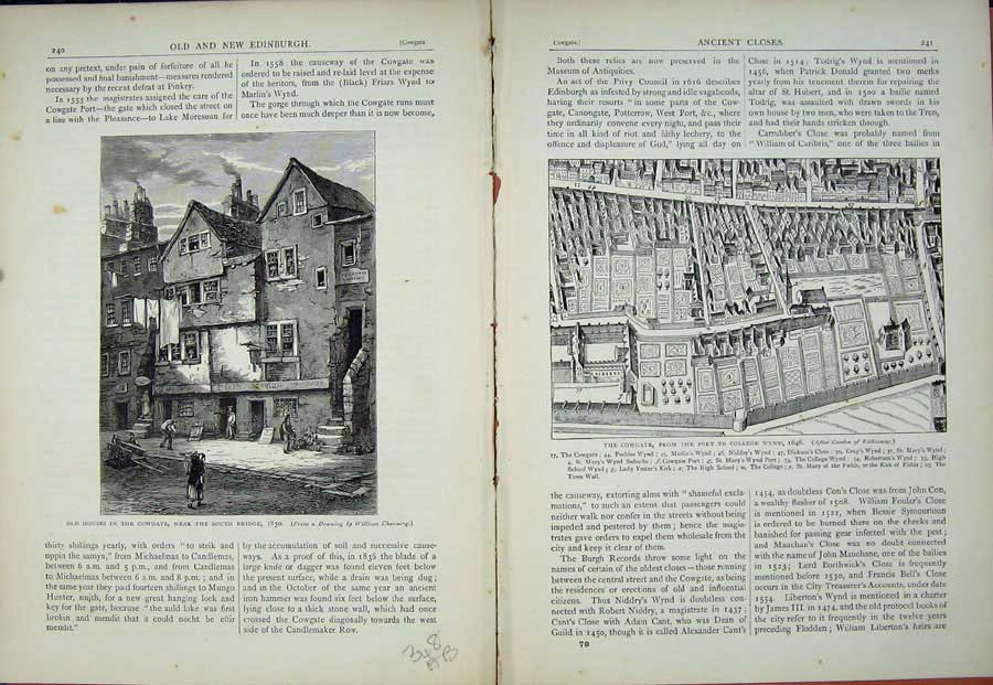 Print Edinburgh 1882 Houses Cowgate College Wynd Scotland 348Ae114 Old Original