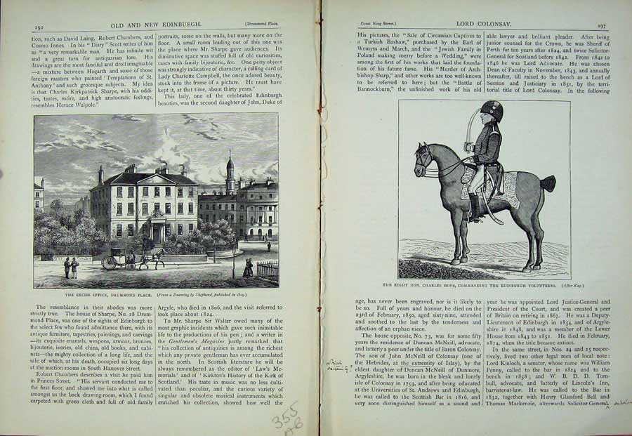 Print Edinburgh 1882 Excise Office Drummond Charles Hope War 355Ae115 Old Original