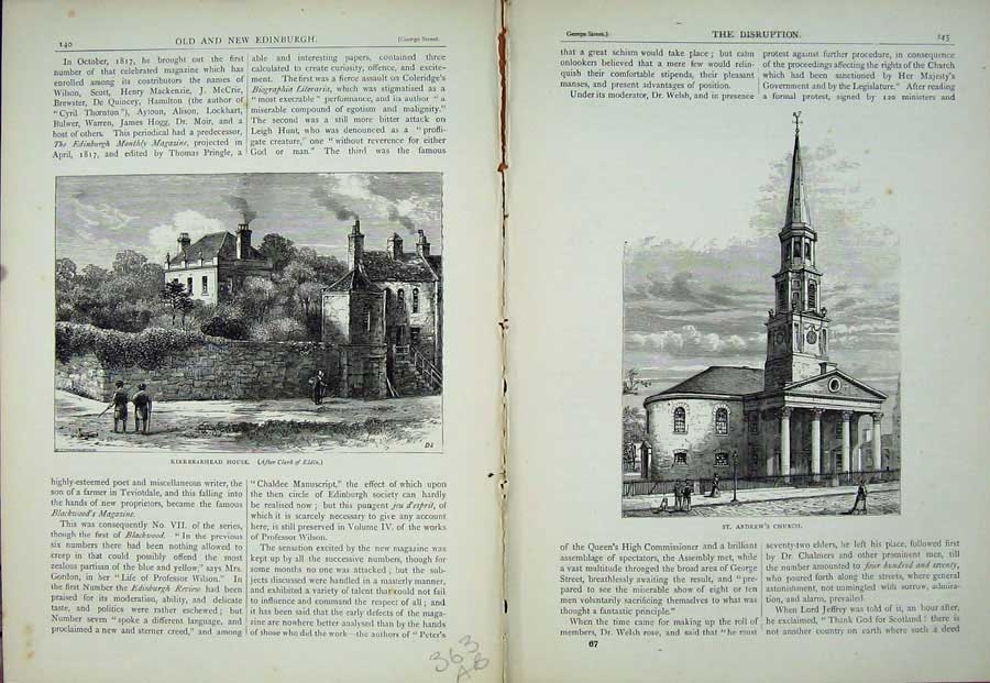 Print Edinburgh 1882 Kirkbraehead House St Andrew'S Church 363Ae115 Old Original