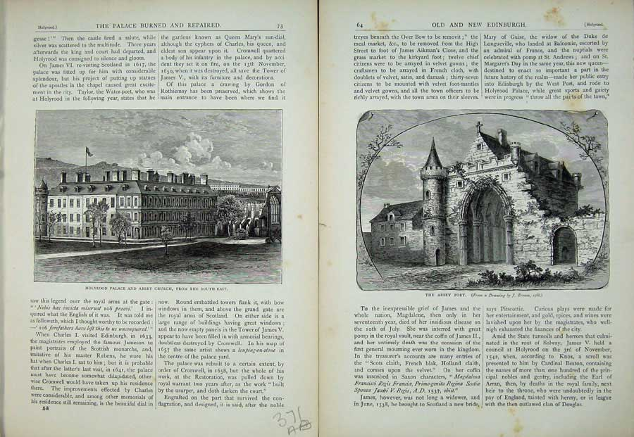 Print Edinburgh 1882 Holyrood Palace Abbey Church Port 371Ae115 Old Original