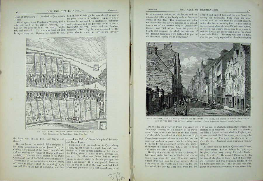Print Edinburgh 1882 Canongate Plan Gay Milton House Gate 378Ae115 Old Original