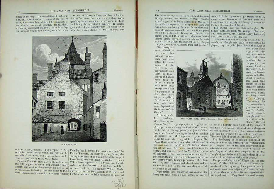Print Edinburgh 1882 Tolbooth Wynd Water Gate Scotland 381Ae115 Old Original