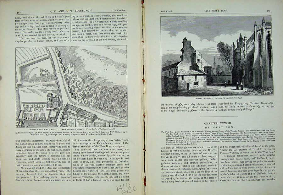 Print Edinburgh 1882 Trinity Church Hospital Plan College 410Ae115 Old Original