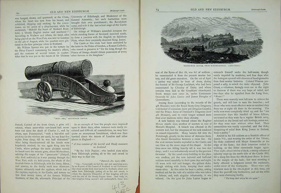 Print Edinburgh 1882 Mons Meg Canon Castle Inner Gateway 413Ae115 Old Original