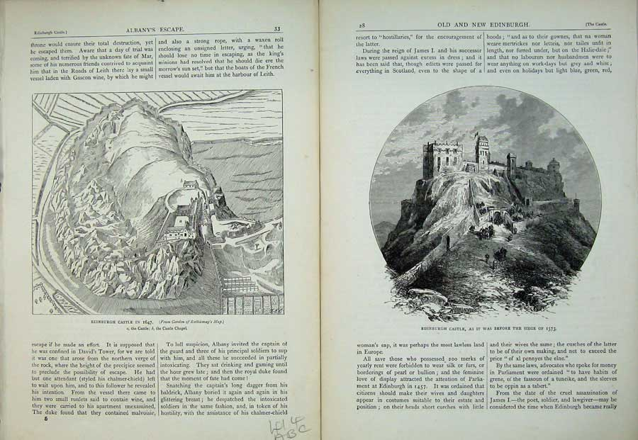 Print Edinburgh 1882 Castle Dungeons Queen Mary'S Room 414Ae115 Old Original