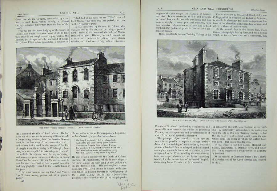 [Print Edinburgh 1882 Trades Maiden Hospital Minto Lady Church 417Ae115 Old Original]