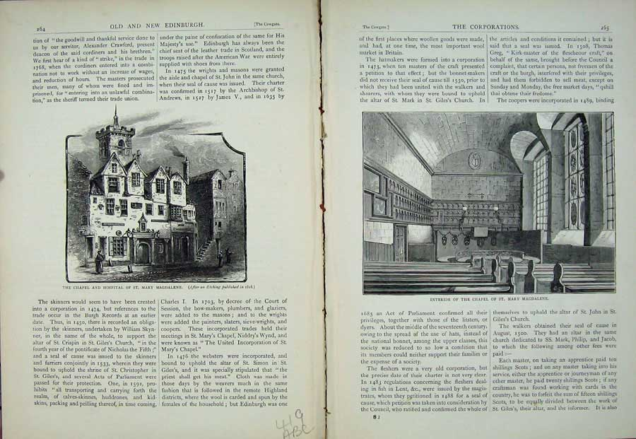 Print Edinburgh 1882 Chapel Hospital St Mary Magdalene Tablet 419Ae115 Old Original