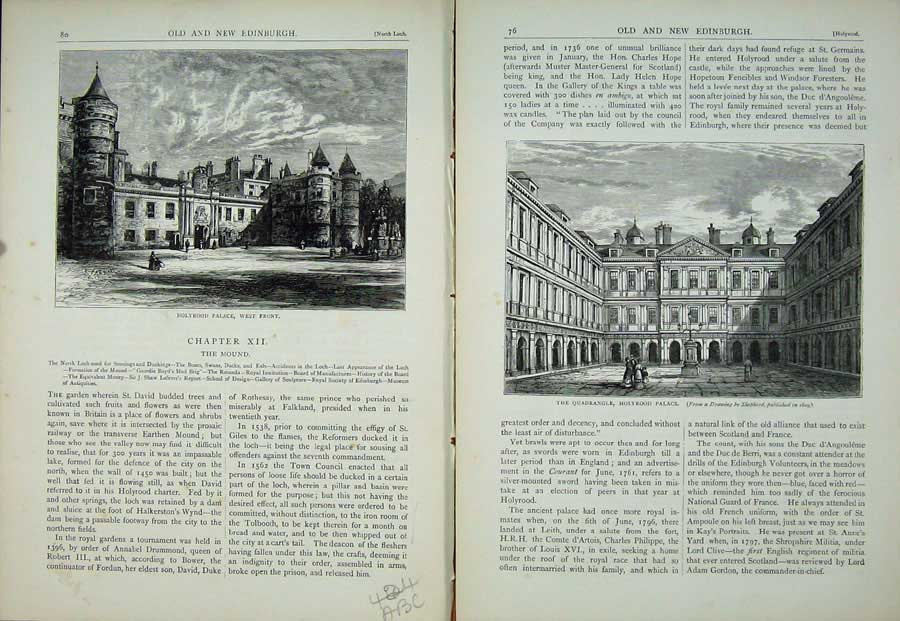Print Edinburgh 1882 Holyrood Palace Quadrangle Fountain 424Ae115 Old Original