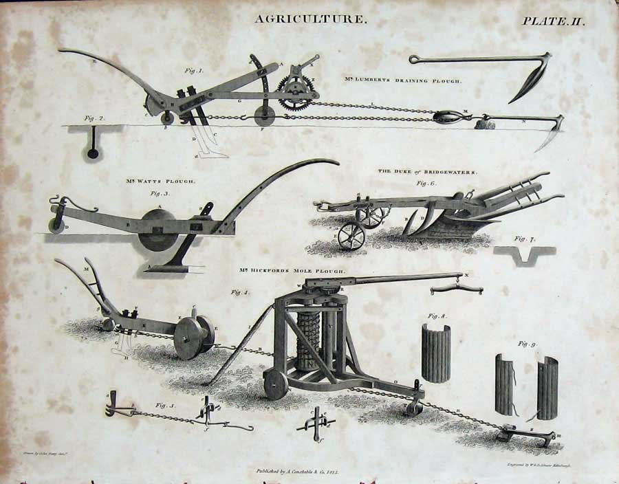 Print Encyclopaedia Britannica 1815 Agriculture Plough Farm 102E116 Old Original