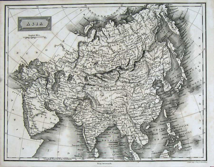 Print Encyclopaedia Britannica Map Asia Arabia Europe Atlas 131E116 Old Original
