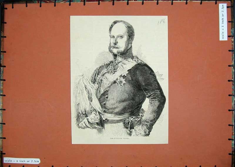 [Print 1858 Portrait Prince Prussia War Uniform 118E117 Old Original]