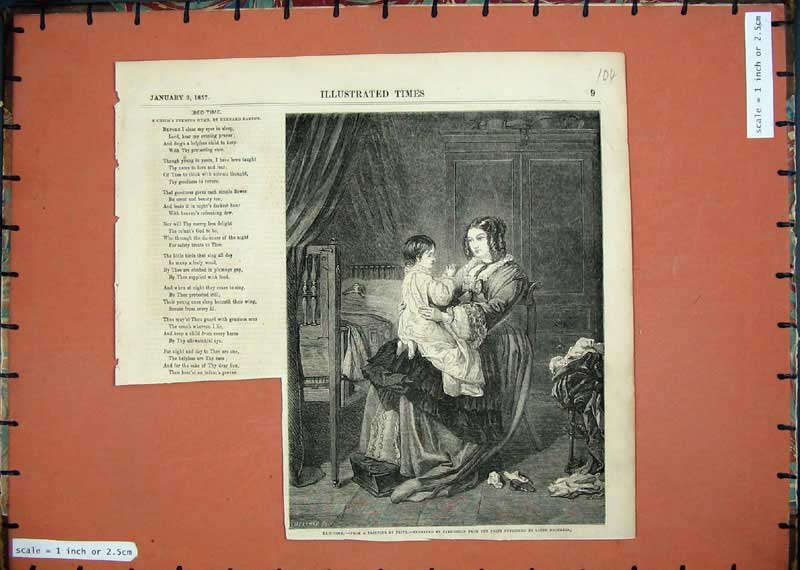 Print 1857 Bed Time Girl Mother Childs Evening Hymn Barton 104E118 Old Original