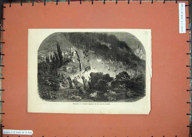 Print 1857 Explosion Powder Magazine Isle Rhodes War Greece 111E118 Old Original