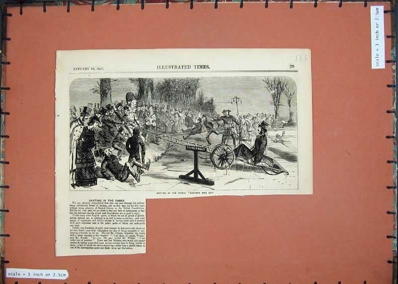 Print 1857 Ice Skating Parks Winter Sport People 113E118 Old Original