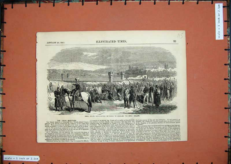 Print 1857 Swiss Troops Batteries Demolish Baden Railway 115E118 Old Original