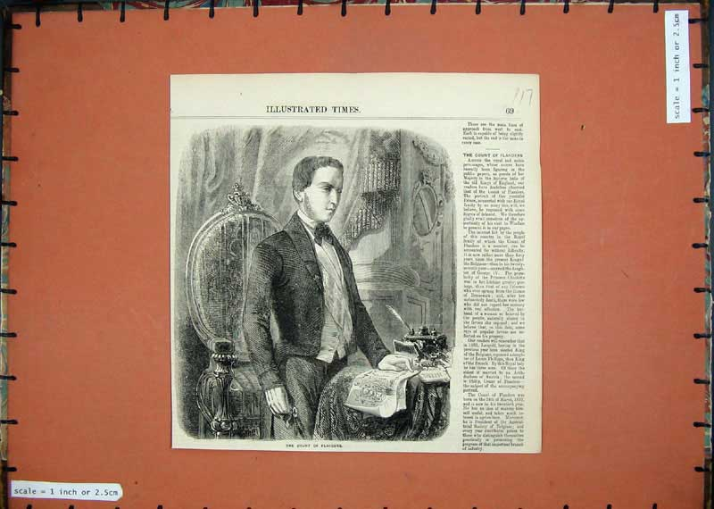 Print 1857 Portrait Count Flanders Man Royal Windsor 117E118 Old Original