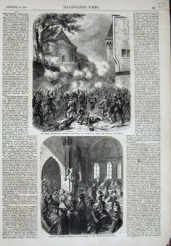 [Print 1857 Swiss Republicans Castle Neufchatel Prisoners War 220E118 Old Original]