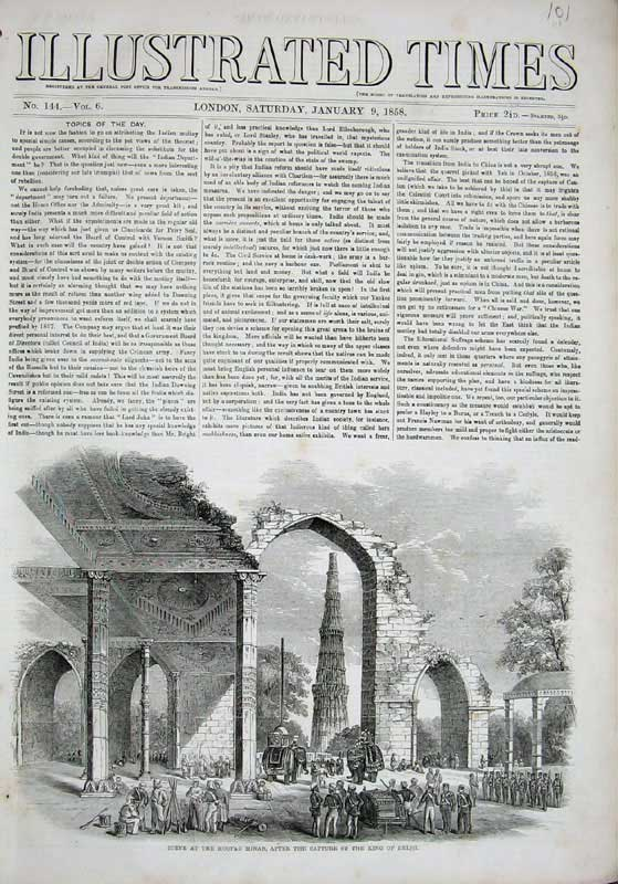 [Print 1858 Scene Kootab Minar Capture King Delhi War Army 101E119 Old Original]