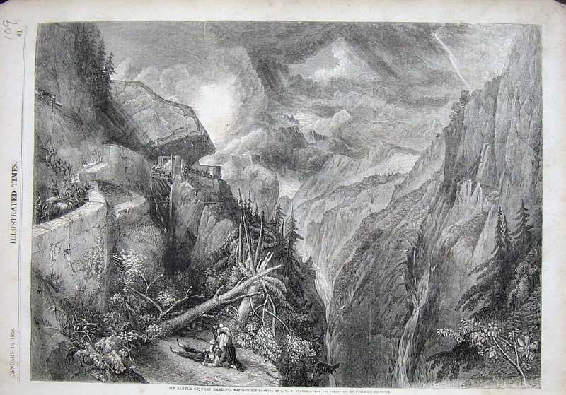 [Print 1858 Fine Art Battle Fort Baird Trees Mountains War 109E119 Old Original]