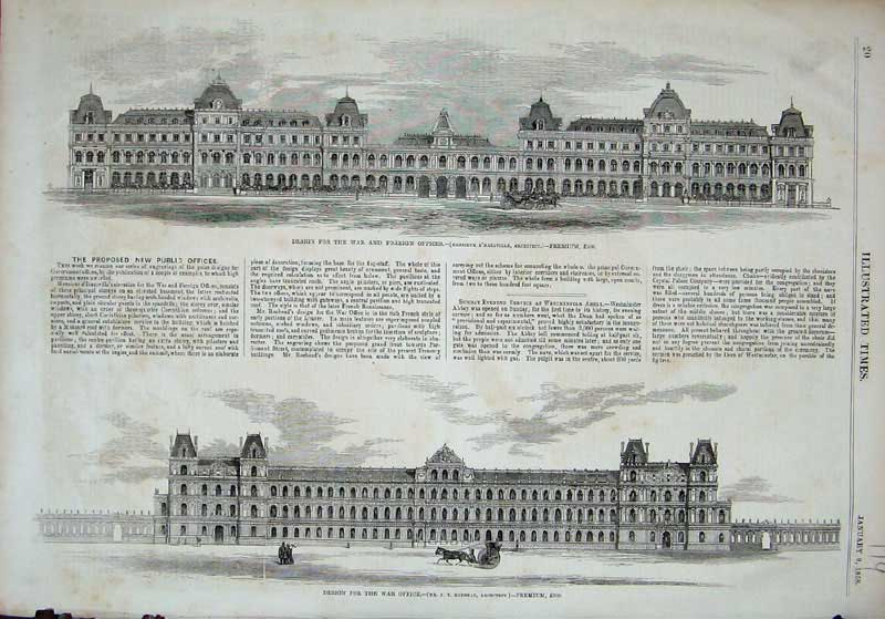[Print 1858 War Foreign Office Buildings Architecture 119E119 Old Original]