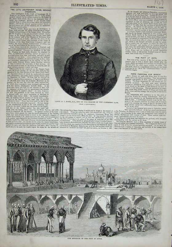 [Print 1858 Home Cashmere Gate War Interior Fort Agra Men 147E119 Old Original]