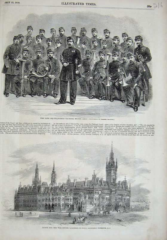 [Print 1858 Music Band French National Guard War Office Army 216E119 Old Original]
