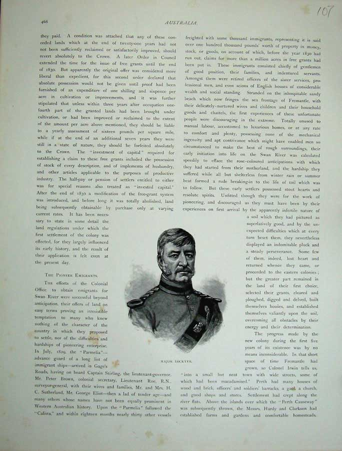 [Print 1886 Portrait Major Lockyer Army Man War 107E130 Old Original]