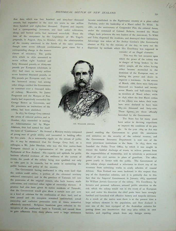 [Print 1886 New Zealand Man Sir William Jervois Army War 165E130 Old Original]