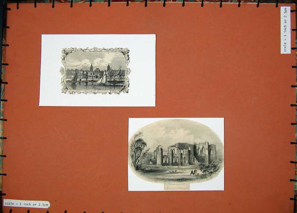 [Print South East Furness Abbey Greenwich Hospital Building 105E131 Old Original]