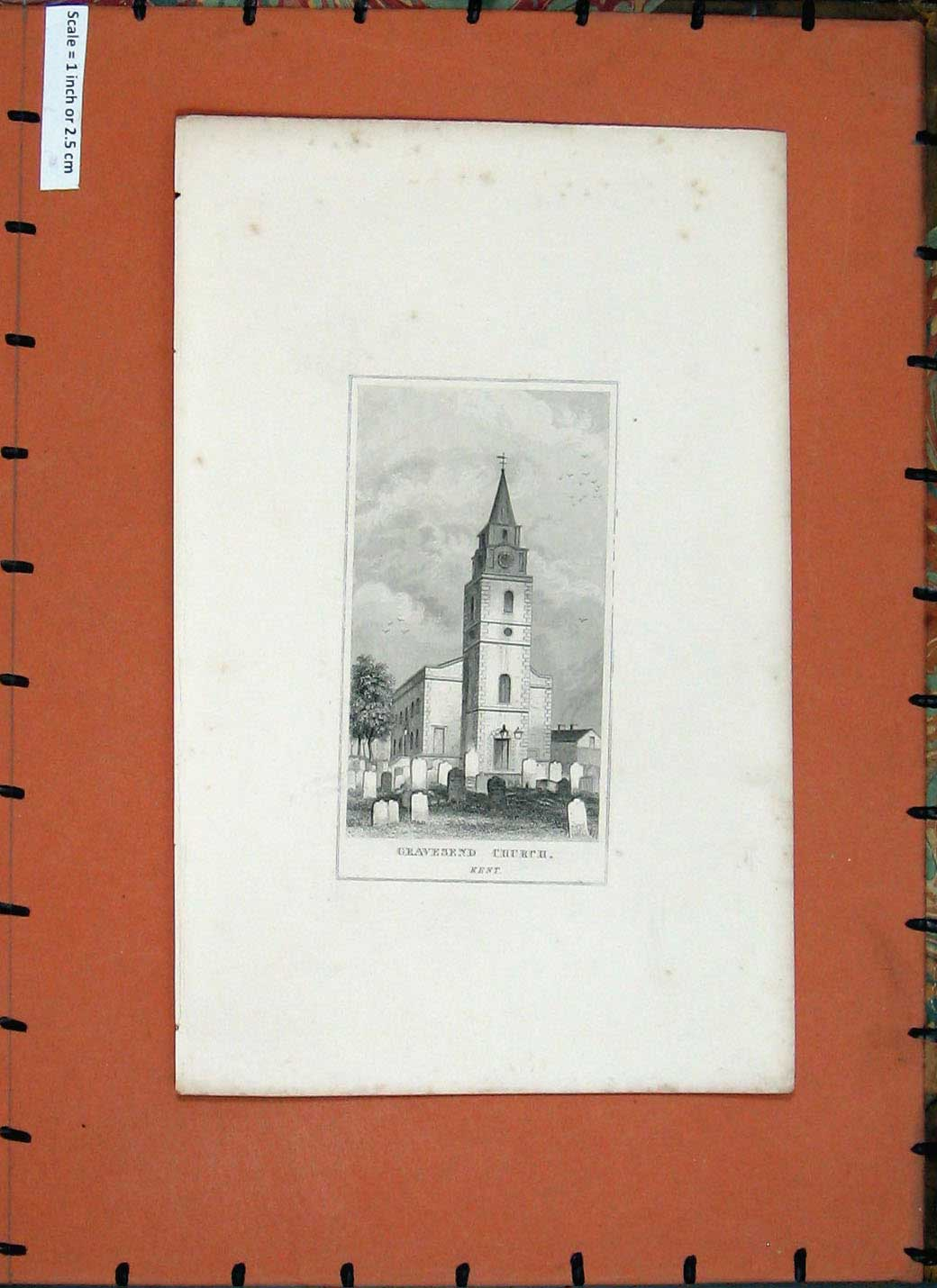 [Print *0239 Exterior View Gravesend Church Kent England 195E137 Old Original]