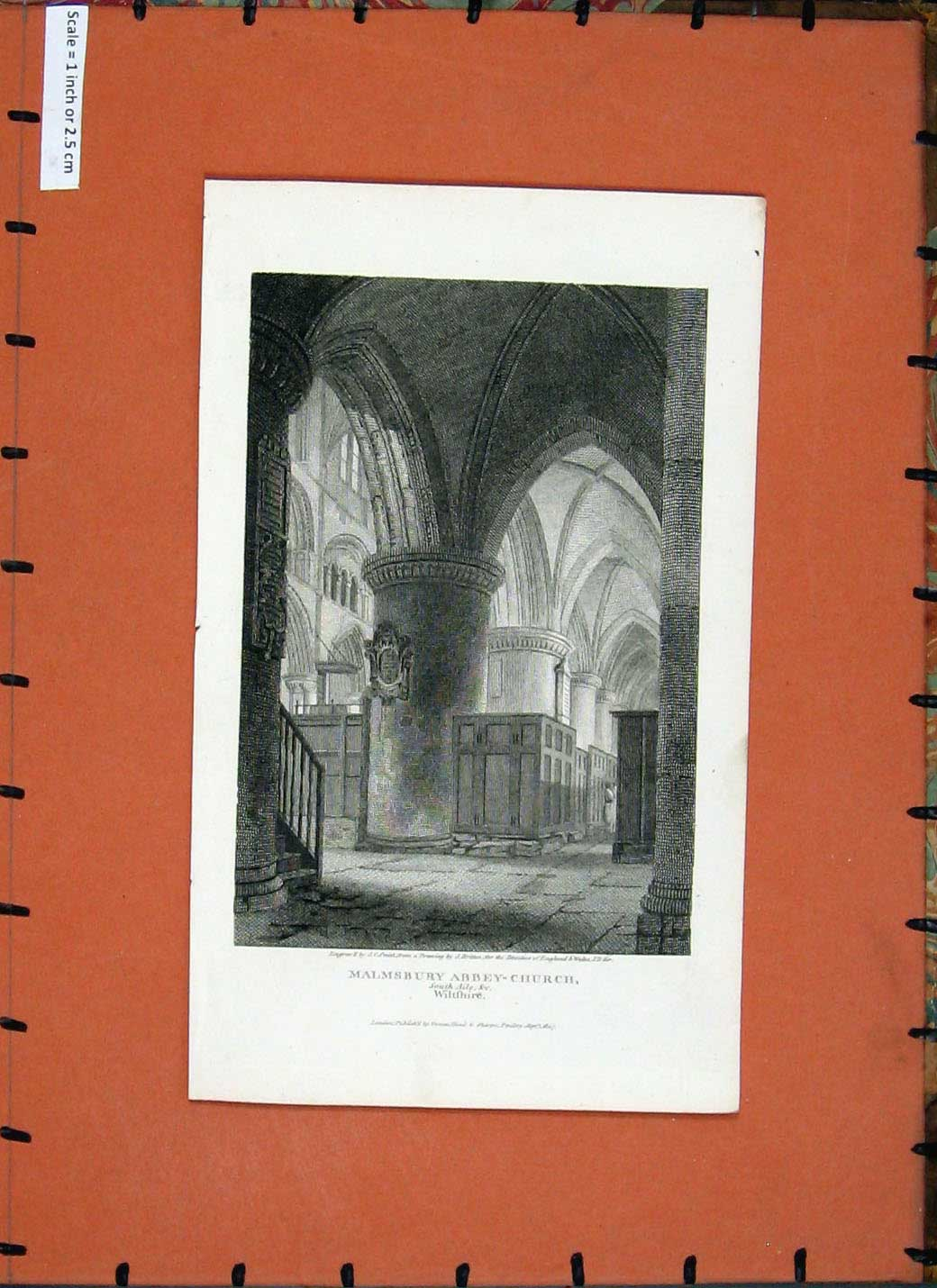 [Print *0240 1807 Interior Malmsbury Abbey Church Wiltshire England 221E137 Old Original]
