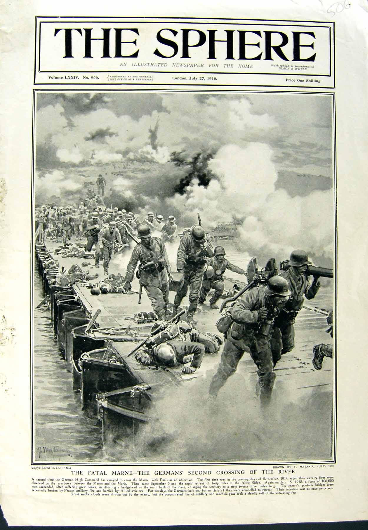 [Print 1918 War Soldiers Germans River Weapons 506E149 Old Original]