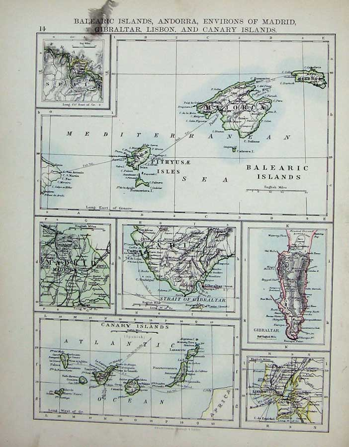 [Print Johnston World Maps 1895 Spain Portugal Balearic Canary 013Re160 Old Original]