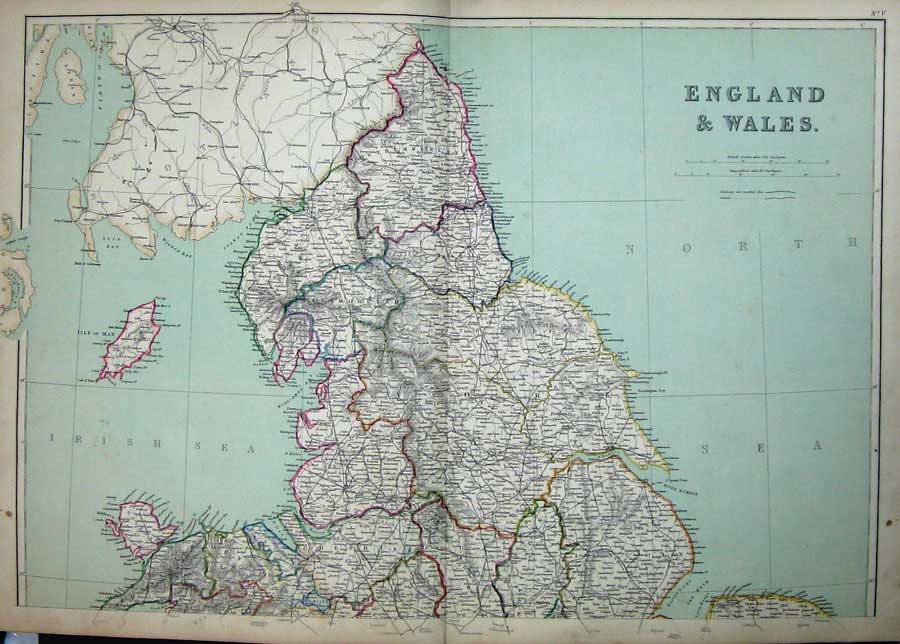[Print 1872 Blackie Geography Maps England Wales Isle Man Sea 005E163 Old Original]