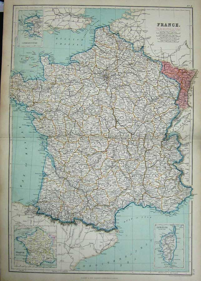 [Print 1872 Blackie Geography Maps France Corsica Gulf Lyon 010E163 Old Original]