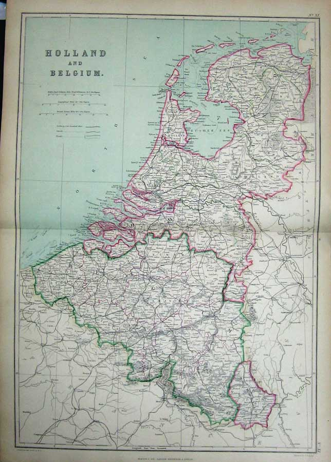 [Print 1872 Blackie Geography Maps Holland Belgium North Sea 011E163 Old Original]