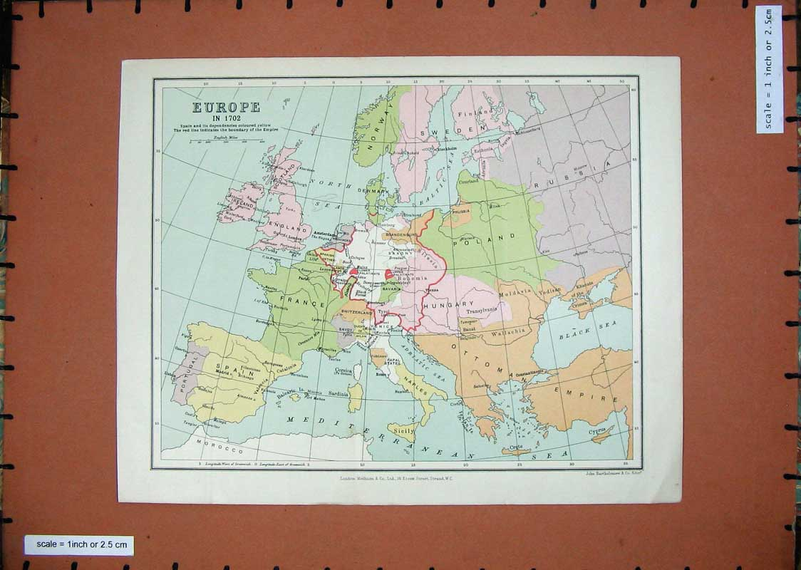 [Print Maps Europe France Spain Italy Norway Britain 205E166 Old Original]