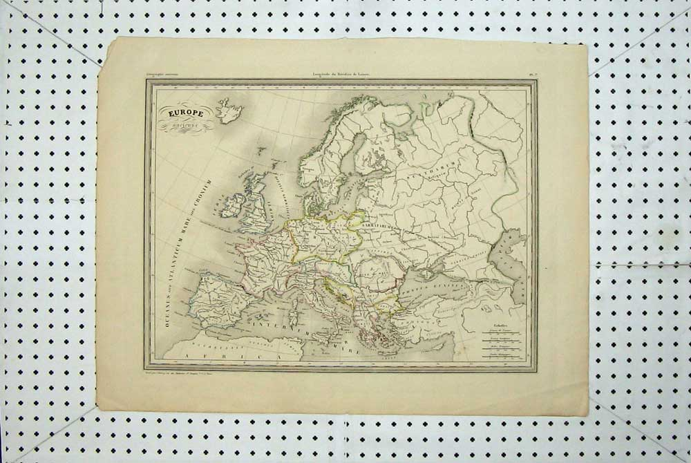 [Print Map Europe Britain France Spain Germany Italy Sardinia 130E168 Old Original]
