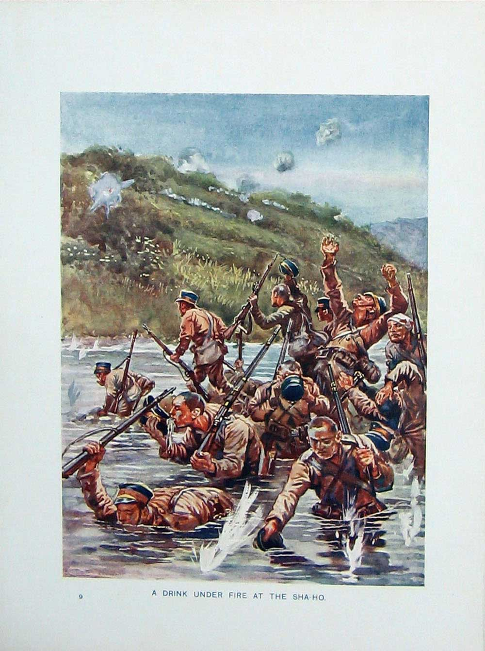 [Print Russo-Japanese War Soldiers River Sha-Ho Battle Weapons 101E170 Old Original]