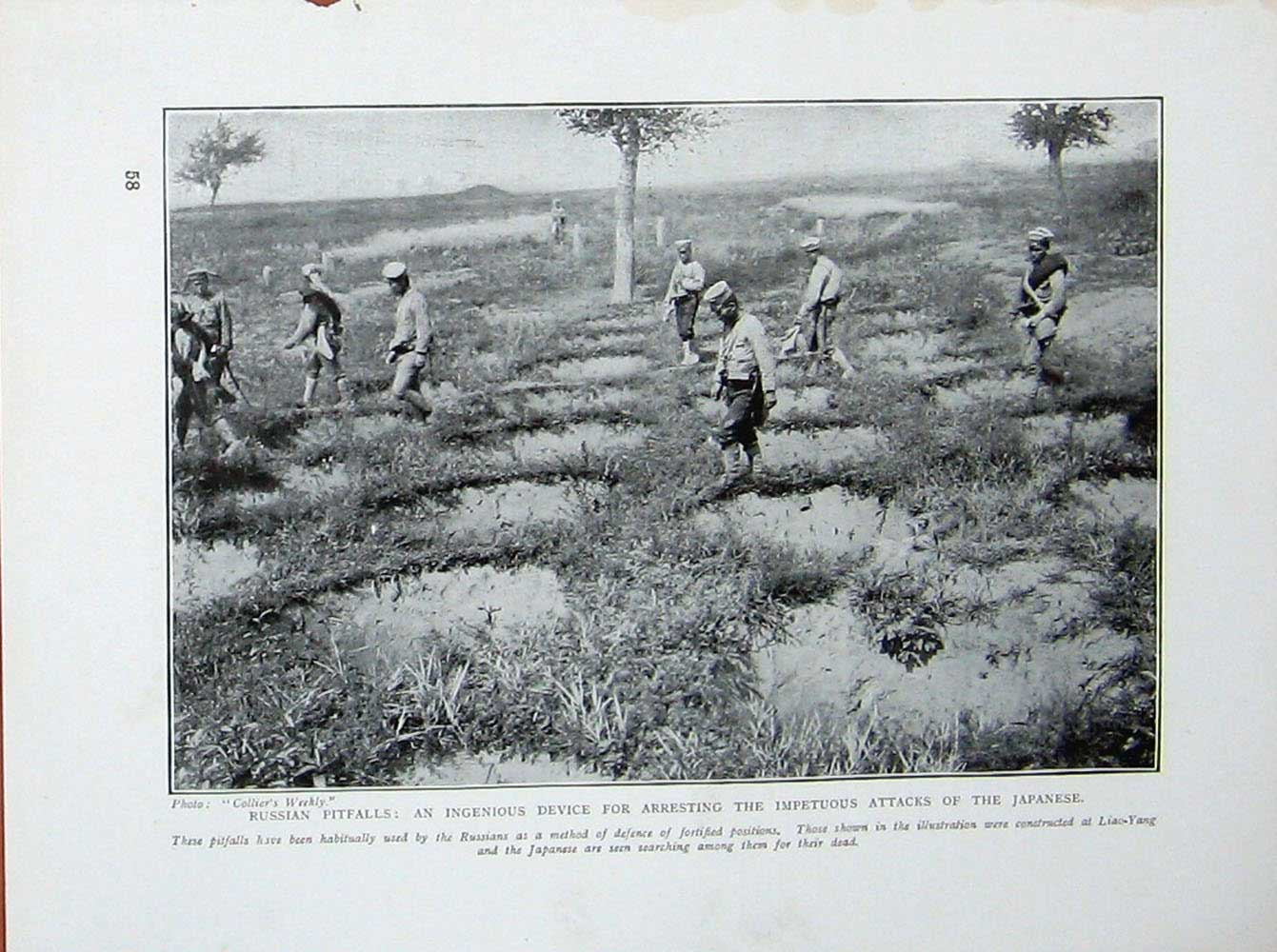 [Print Russo-Japanese War Liao-Yang Japanese Soldiers Field 107E170 Old Original]