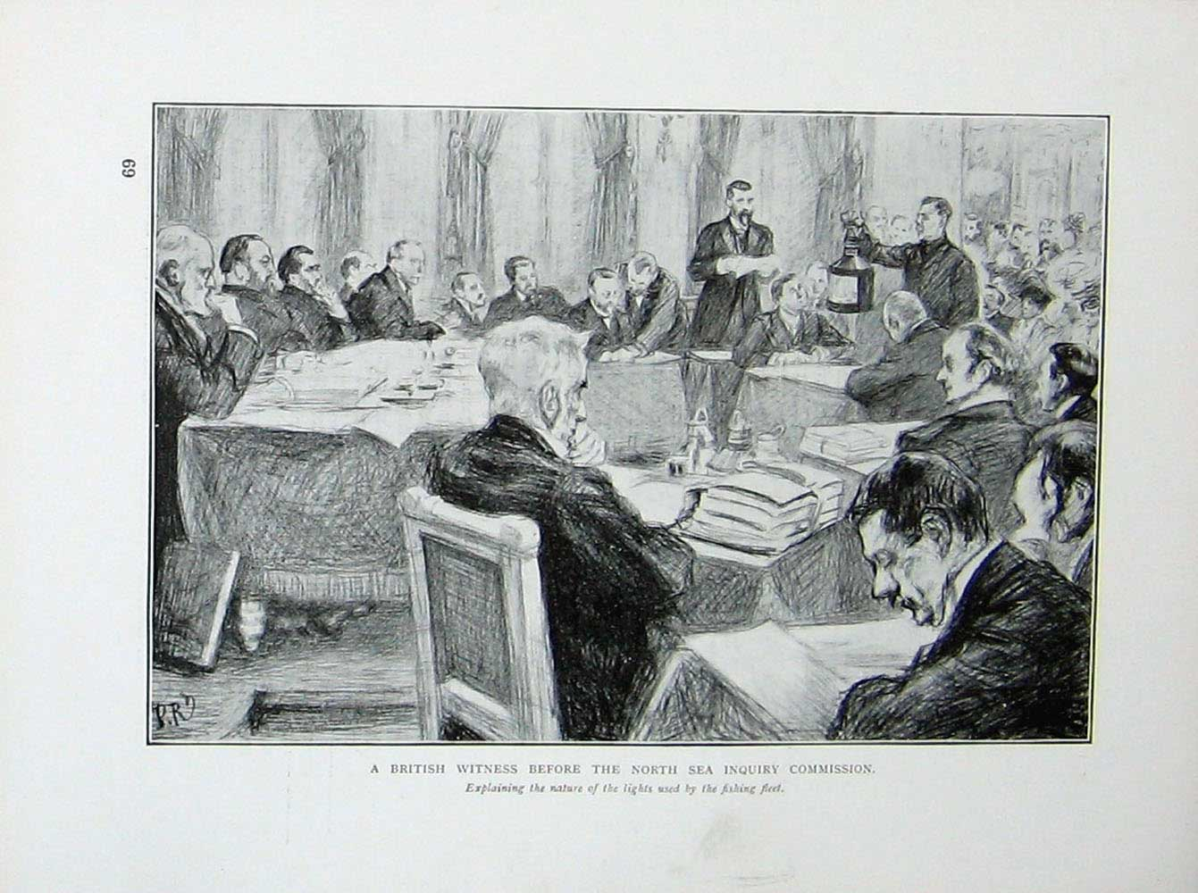 [Print Russo-Japanese War North Sea Inquiry Commission Court 133E170 Old Original]