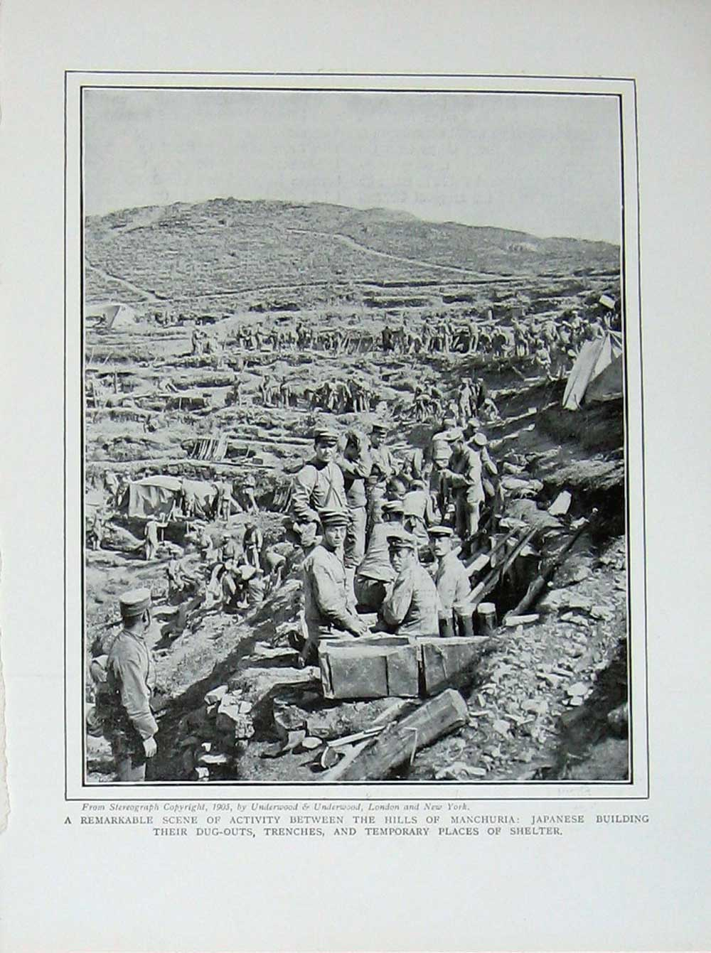 [Print Russo-Japanese War Manchuria Japanese Shelter Trenches 134E170 Old Original]