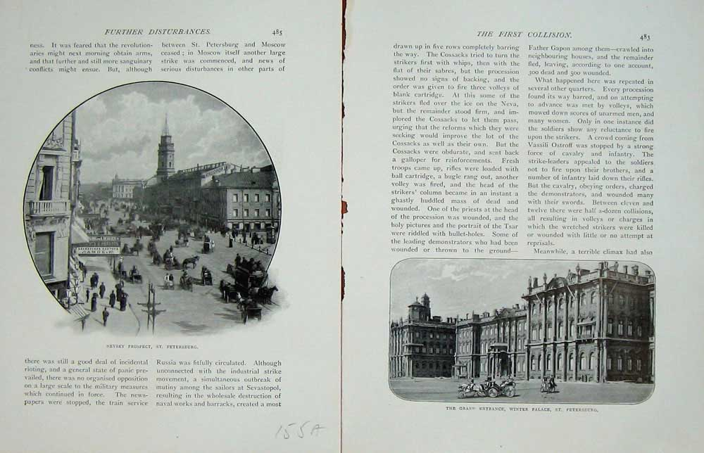 [Print Russo-Japanese War Nevsky Petersburg Winter Palace 155Ae170 Old Original]