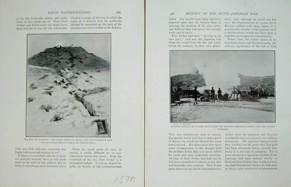 [Print Russo-Japanese War Cockscomb Fort Japanese Battery 157Ae170 Old Original]